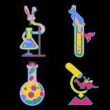Klistermärkear med provrör och djur, gula dinosaurier, rosa som är blåa stock illustrationer