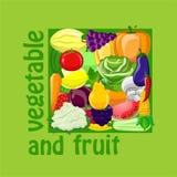 Klistermärkear med tecknad filmfrukter och grönsaker Royaltyfria Bilder