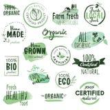 Klistermärkear och emblem för organisk mat Arkivbilder