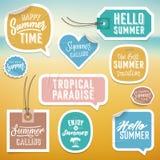 Klistermärkear och etiketter för semester för sommarferie Arkivfoto