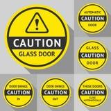 Klistermärkear och etiketter på dörren Royaltyfri Foto