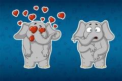 Klistermärkeelefanter Mycket förälskat Han förvånas Stor uppsättning av klistermärkear Vektor tecknad film Royaltyfri Fotografi