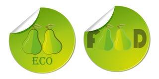 klistermärkeetikett med den hand drog illustrationen för logo för affär för päronvektorhälsokost Arkivbild