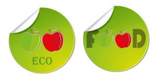 klistermärkeetikett med hand drog äpplen Illustration för logo för vektorhälsokostaffär Arkivfoton
