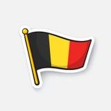 Klistermärkeflagga av Belgien på flaggstång Fotografering för Bildbyråer