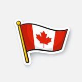 Klistermärkeflagga av Kanada på flaggstång Arkivbild