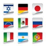 Klistermärkeflaggor royaltyfri illustrationer