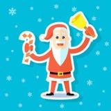 Klistermärkeillustration av en plan konsttecknad film Santa Claus med godisrottingen stock illustrationer