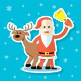 Klistermärkeillustration av en plan konsttecknad film Santa Claus med renen stock illustrationer