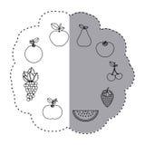 Klistermärkekonturmodell med frukter i rund form Royaltyfria Bilder