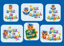 Klistermärkemall för tillbaka till skolan Royaltyfria Bilder