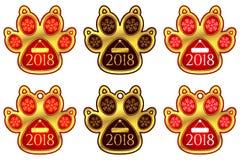 Klistermärken för det nya året av hunden tafsar ställ in etiketter Arkivbild