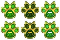 Klistermärken för det nya året av hunden tafsar ställ in etiketter Royaltyfri Bild