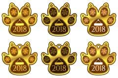 Klistermärken för det nya året av hunden tafsar ställ in etiketter Royaltyfri Fotografi