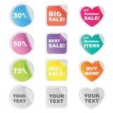 Klistermärken för shoppar och säljaren Royaltyfri Bild