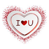 Klistermärken form av hjärta från papper med den röda ramen och konfetti, mousserar och bokstäver som jag älskar dig på vit bakgr Arkivbild
