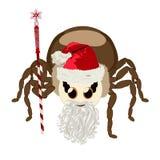 Klistermärkespindel som isoleras i Jultomte dräkt royaltyfri illustrationer