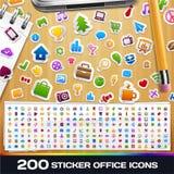 200 klistermärkeuniversalsymboler Fotografering för Bildbyråer
