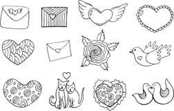 Klistermärkeuppsättning för dagen för valentin` s - färgläggningsida Klottertecknad film royaltyfri illustrationer