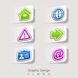 Klistermärkeuppsättning för grafisk design av affärssymboler Arkivfoto