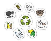 Klistermärkeuppsättningen med återanvänder teckenvektorillustrationen stock illustrationer