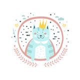 Klistermärke för konung Cat Fairy Tale Character Girly i rund ram Royaltyfri Foto