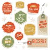 Klistermärkear och etiketter för jul och nytt år Fotografering för Bildbyråer