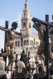 Kliva gåta av brödraskapet av CarreterÃa, påsk i Seville Arkivfoto
