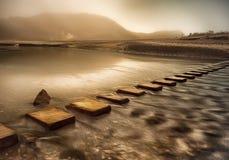 Kliva stenar med effekt för olje- målning Royaltyfri Fotografi