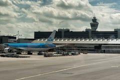 KLM à l'aéroport Amsterdam de Schiphol Photo libre de droits