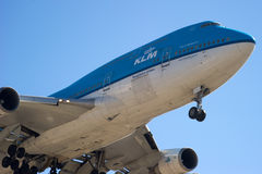 KLM 747 lands at LAX Royalty Free Stock Photography