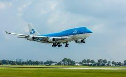 KLM Air France Boeing 747 ląduje Zdjęcia Royalty Free