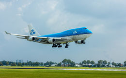 KLM Air France Boeing 747 landning Royaltyfria Foton