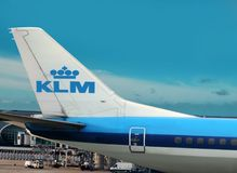 KLM airplane on airport. Royalty Free Stock Photo