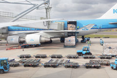 KLM airplane cargo loading. AMSTERDAM, NETHERLANDS - JUNE 6, 2010: Cargo bay loading in a KLM airplane on the tarmac of Schiphol  international airport Stock Photography