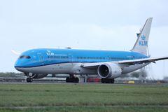 KLM plane taxiing on Amsterdam Airport Schiphol AMS. KLM airplane doing taxi on AMS Airport, Netherlands stock photography