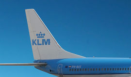 KLM airplane on sky background. Royalty Free Stock Photo