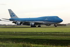 KLM B747 plane taking off from runway from AMS Airport. KLM airplane taking off from Amsterdam Airport Schiphol AMS, Netherlands stock images