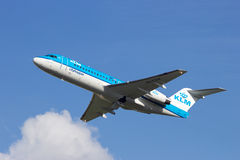 KLM Fokker 70 at Schiphol Stock Photography