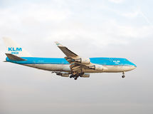 KLM Asia 747 PH-BFY. Landing at schiphol amsterdam airport Stock Image
