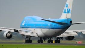 KLM Boeing 747 απογείωση απόθεμα βίντεο