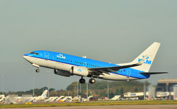 KLM Boeing 737. Taking off from Manchester Airport stock images