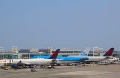 KLM Boeing 747, deltaflygbolag Boeing 747 och flygbuss A330 på portarna på terminalen 4 på John F Kennedy International Airport Arkivfoto