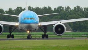 KLM Boeing 777 before departure stock footage