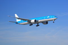 KLM Boeing 777-300. A KLM 777-300 on final approach to land Royalty Free Stock Image