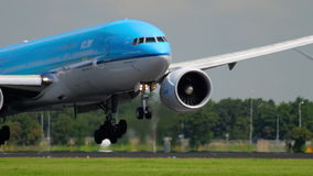 KLM Boeing 777 landing stock video footage