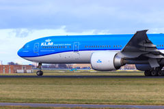 KLM Boeing 777 in new livery. KLM Boeing 777-300 in new KLM livery taking off from Schiphol Amsterdam Airport Royalty Free Stock Photo