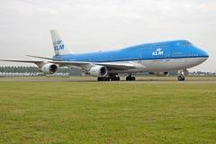 KLM Boeing 747 passagerarenivå Royaltyfri Bild