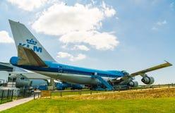 KLM Boeing 747 PH-BUK flygplan som visas på det Aviodrome flygplanmuseet Fotografering för Bildbyråer