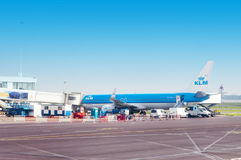 KLM Boeing Plane in the Schiphol Airport, Amsterdam, Netherlands. Stock Photo